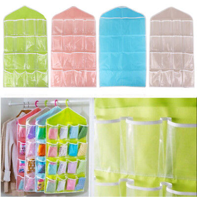 16 Pockets Wardrobe Hanging Bags Wall Door Storage Bag Closet Home Holder Pouch
