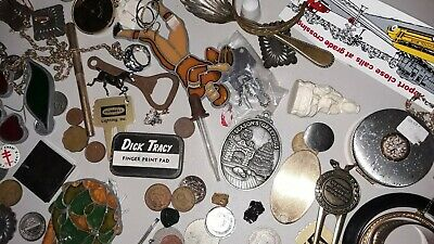 Vintage junk drawer lot jewelry, coins, sun catchers, fobs, bottle opener, pins