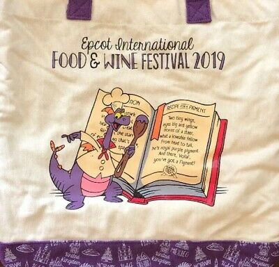 2019 EPCOT Food And Wine Festival Recipe for a Figment Tote Bag Disney World WDW
