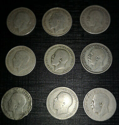 9 King George V Old Half Solid Sterling Silver Shilling Coins 1920 1922 1929 UK