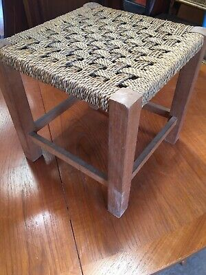 Vintage Traditional Fireside Stool String Weave Seat 29/8/H
