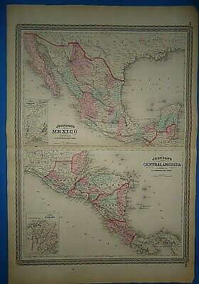 Vintage 1873 MEXICO CENTRAL AMERICA MAP Old Antique Original Johnson Atlas Map