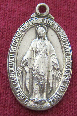 Vintage Catholic Religious Holy Medal - STERLING - MIRACULOUS - WORN  / CLASSIC