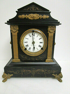 Vintage Antique Mantle Clock Ansonia Clock Company Parts Or Repair W/Key