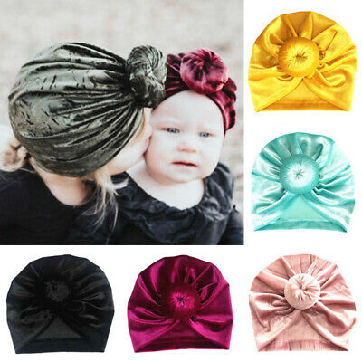 Kids Baby Velvet Hijab Hat Turban Knot Headbands Stretchable Head Cap Acc Gifts