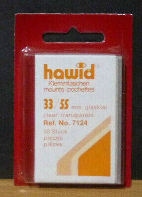 HAWID STAMP MOUNTS CLEAR Pack of 50 Individual 33mm x 55mm - Ref. No. 7124