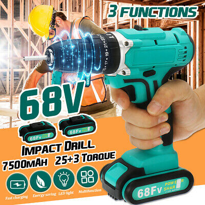 68V Electric Cordless Impact Drill 2-Speed Power Battery Driver Kit Repair Tool