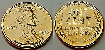 1943 US Gold Wheat Cent Penny Coin U Trump Man Old Antique C Americana New York