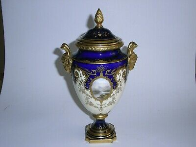 "Coalport Urn Shaped Vase & Cover, Handpainted, Gilt Decorated, 10"" High."