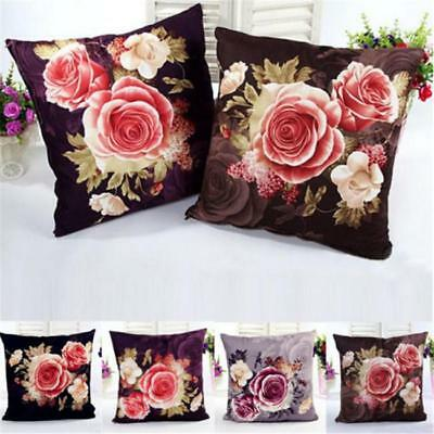 Retro Peony Pattern Square Throw Pillow Case Coushion Cover Home Sofa Decor LC