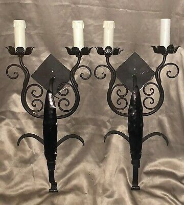 "Vintage 24"" Matching Pair Double Arm Cast iron Spanish Style Wall Sconce Electri"