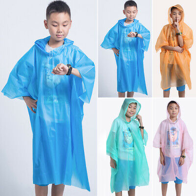 Unisex Kids Children Student Solid Color Portable Hiking Travel Raincoat Thicken