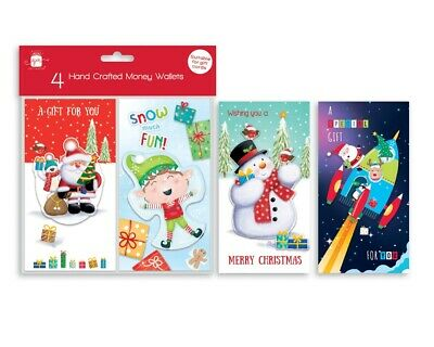 4 Tradional Christmas Money Voucher Wallets Gift Cards & Envelopes Xmas GC202