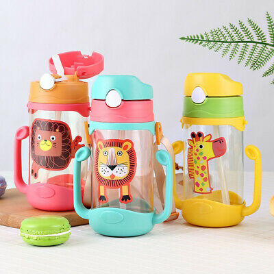 400ml Cartoon Baby Leak Proof Straw Water Bottle Sippy Cup with Lanyard 3 Colors