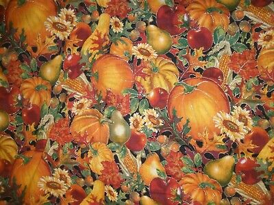 Fall Pumpkins Thanksgiving Harvest Leaves Gold Black Cotton Fabric 2 Yards NEW