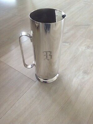 "Superb Oneida Ltd Silver Plate Water Jug Pitcher with Ice Catcher - ""B"" Monogram"