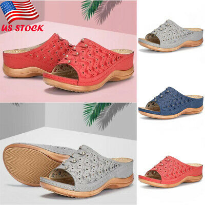 New Womens Satin Embroidery Floral Flat Peep Toe Slippers Casual Sandals Shoes
