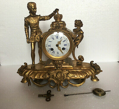 FAB ANTIQUE 19THC japy feres GILT BRONZE ORMOLU  FRENCH  MANTEL CLOCK