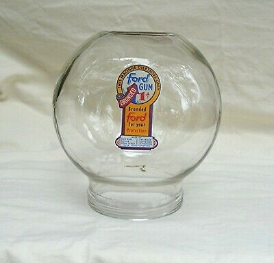 Early Original Ford Gumball  Machine glass globe with Fired on 1 cent decal