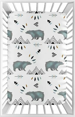 Blue White Watercolor Baby Fitted Mini Portable Crib Sheet Bear Mountain Bedding
