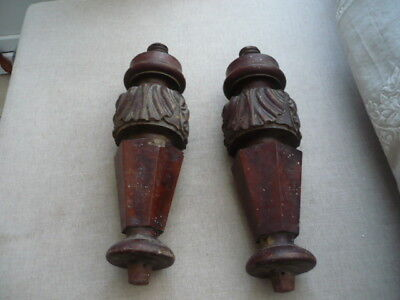 2 huge heavy Antique carved pieces of treen Orginally legs Ideal Decorators item