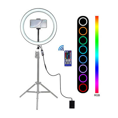Dimmable Rgb Led Ring Fill Light Kit For Youtube Video Photography+Phone Clamp