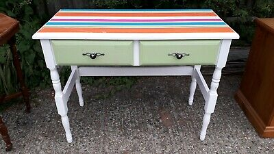 Hall/console table - 2 drawers - solid pine/painted