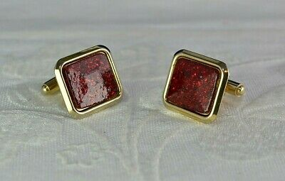 Vintage Square Cufflinks Blood Red Gold Gilt Metal Shell Cuff Links 1960s