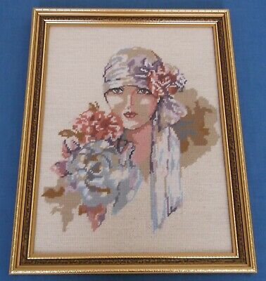 Vintage Art Deco Lady Flapper Charleston Tapestry Wool Picture Panel Framed