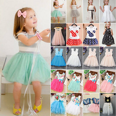 Flower Girls Princess Dress Kids Baby Party Wedding Pageant Tulle Tutu Dresses