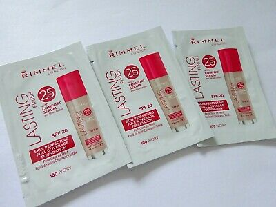 (x3) Rimmel 25hr Lasting Finish Foundation with Comfort Serum, Ivory, New Sealed
