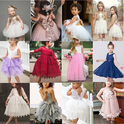 Baby Girls Toddler Bow Tulle Tutu Dress Kids Wedding Bridesmaid Dresses Princess