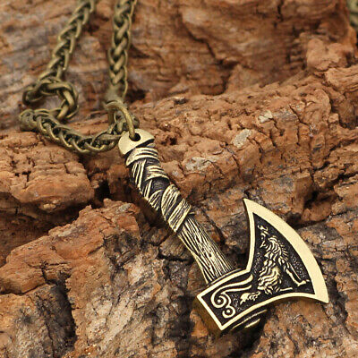 Men's Vintage Silver/Bronze Norse Viking Pendant Necklace Gifts Wolf Axe Amulet