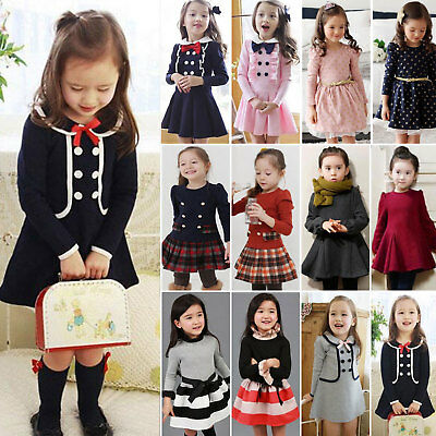 Toddler Kid Girl Long Sleeve Princess Party Wedding Casual Dress Autumn Clothes