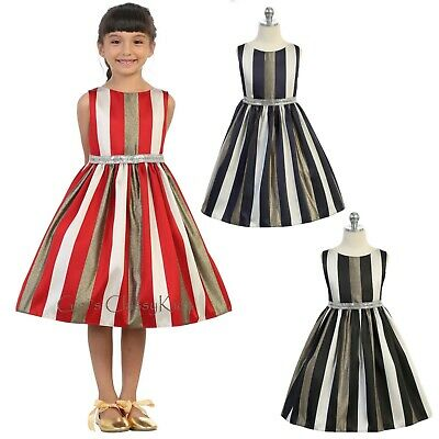 Flower Girls Striped Dress Metallic Wedding Christmas Holidays Pageant Party New