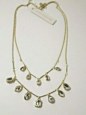Ann Taylor Metallic Round Crystal Pave Delicate Necklace NWT 39.50