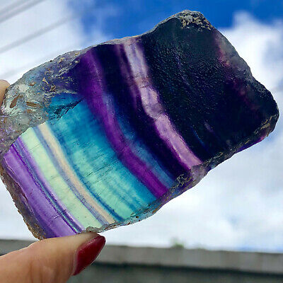 186G   Natural beautiful Fluorite Crystal Rough stone specimens cure LYQ783
