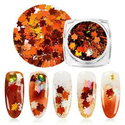 1g Christmas Maple Leaf Nails Sequins Nail Art Glitters Metal Slices Decor Tips