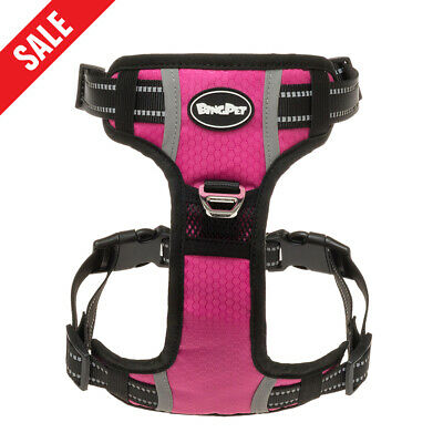 Dog Harness No Pull Pet Adjustable Harness Vest Reflective Waterproof - Pink