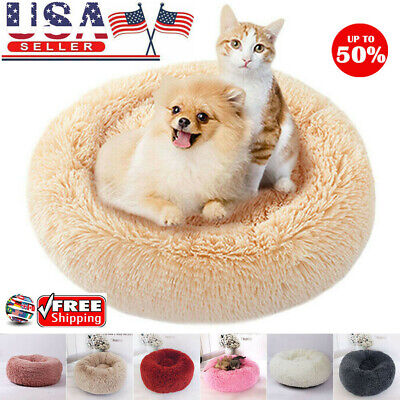 Pet Dog Cat Calming Bed Warm Soft Plush Round Cute Nest Comfortable Sleeping USA