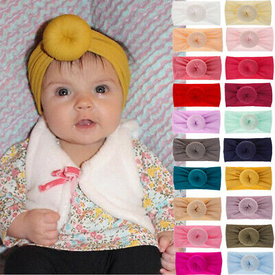 Toddler Girls Kid Baby Nylon Bow Hairband Headband Stretch Turban Knot Head Wrap