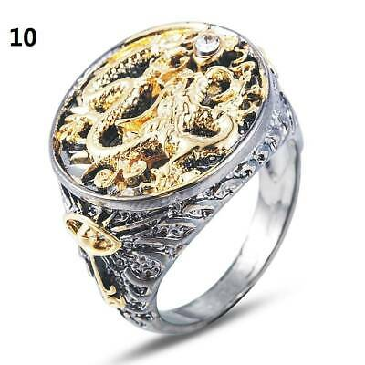 Men's Chinese Dragon Carved 18K Gold Plated Black Ring Party Jewelry Size 8-13