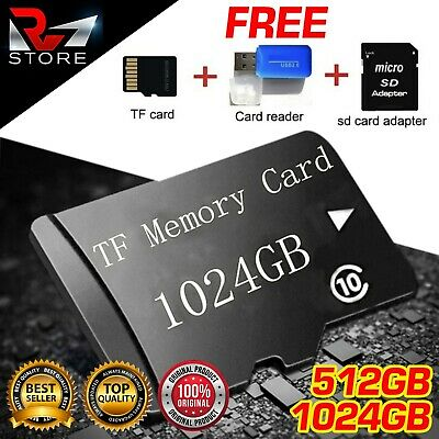 512GB 1TB Micro SD Memory Card Flash TF Class 10 SDXC SDHC + Free Adapter+Reader