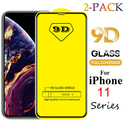 2PCS For iPhone 11 XS XR XS Max 9D Full Cover Tempered Glass Screen Protector CA