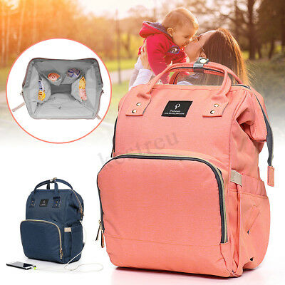 Multifunctional  Baby Diaper Nappy Mummy Bag Backpack Outdoor USB Interface  AU