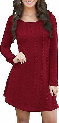 Fashion NEW Red Womens Size Medium M Knitted Pullover Sweater Dress $35- 908