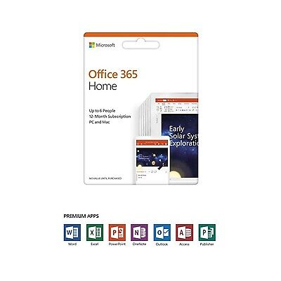 NEW! Microsoft Office 365 Home 2019 1 Year 6 User Medialess Subscription