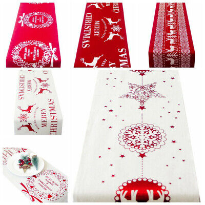 Christmas Table Runners Tablecloth Xmas Elk New Year Party Dinner Table Decor