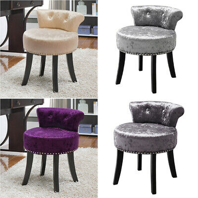 Crushed Velvet Upholstery Dressing Table Chair Vanity Stool Studded Piano Seat