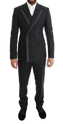 NEW $3000 DOLCE & GABBANA Suit Tuxedo Gray Double Breasted 3 Piece EU52/US42/ XL